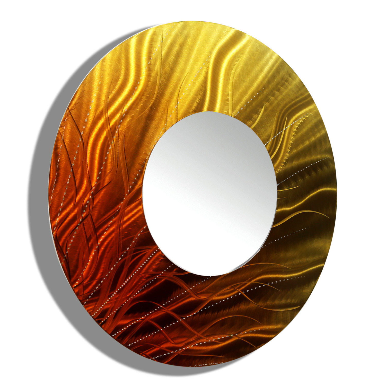 Gold orange fusion hand painted modern metal wall mirror gold orange fusion hand painted modern metal wall mirror amipublicfo Gallery