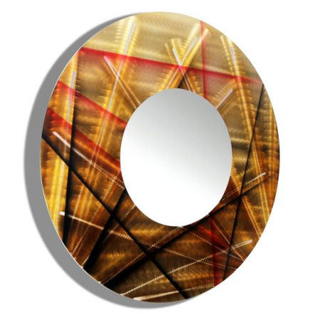 Sculptural Gold-Black and Red Mirror 110 Small