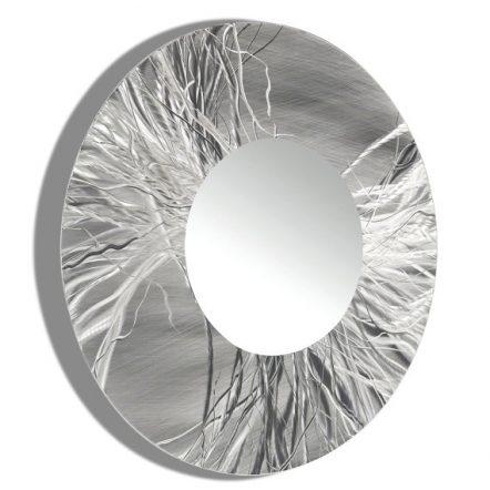Sculptural Silver Mirror 104 XL