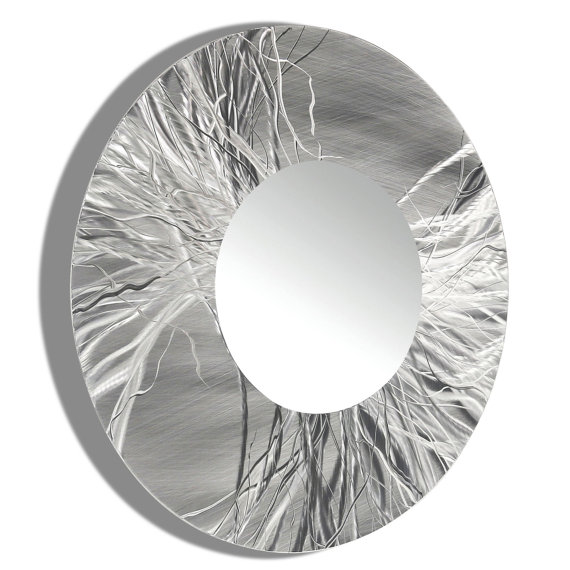 Sculptural Silver Mirror 104 XL