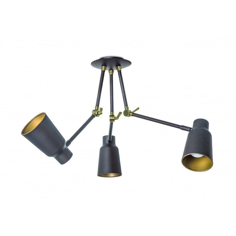 The One FUNK contemporary dark brown 3 light ceiling light with golden inner shades