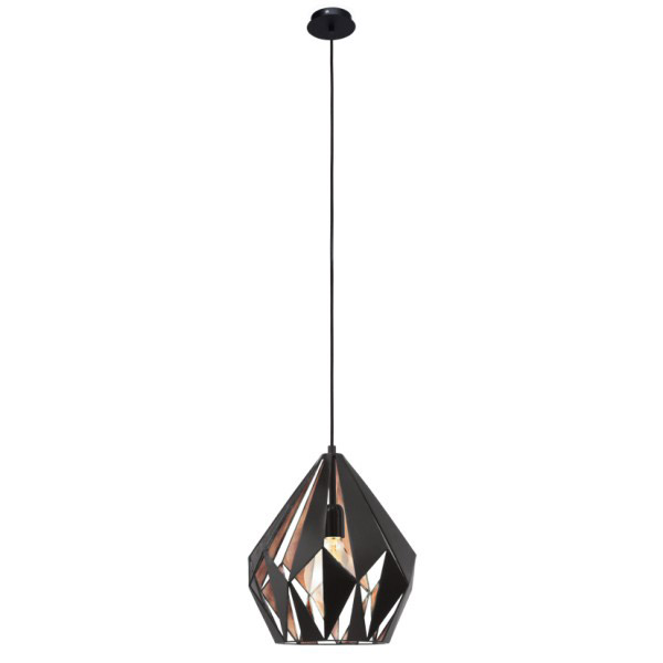 Vintage Collection GEOMETRIC contemporary ceiling pendant with black outer and copper inner