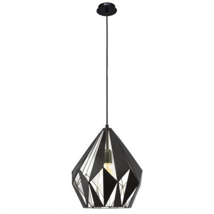 Vintage Collection GEOMETRIC contemporary ceiling pendant with black outer and silver inner