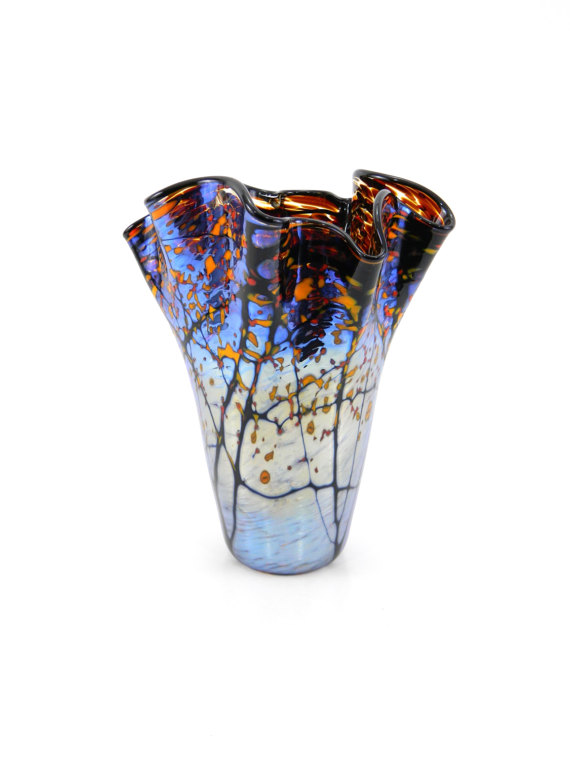 Hand Blown Glass Vase In Blue Gold Amp Orange Innovative Home Solutions